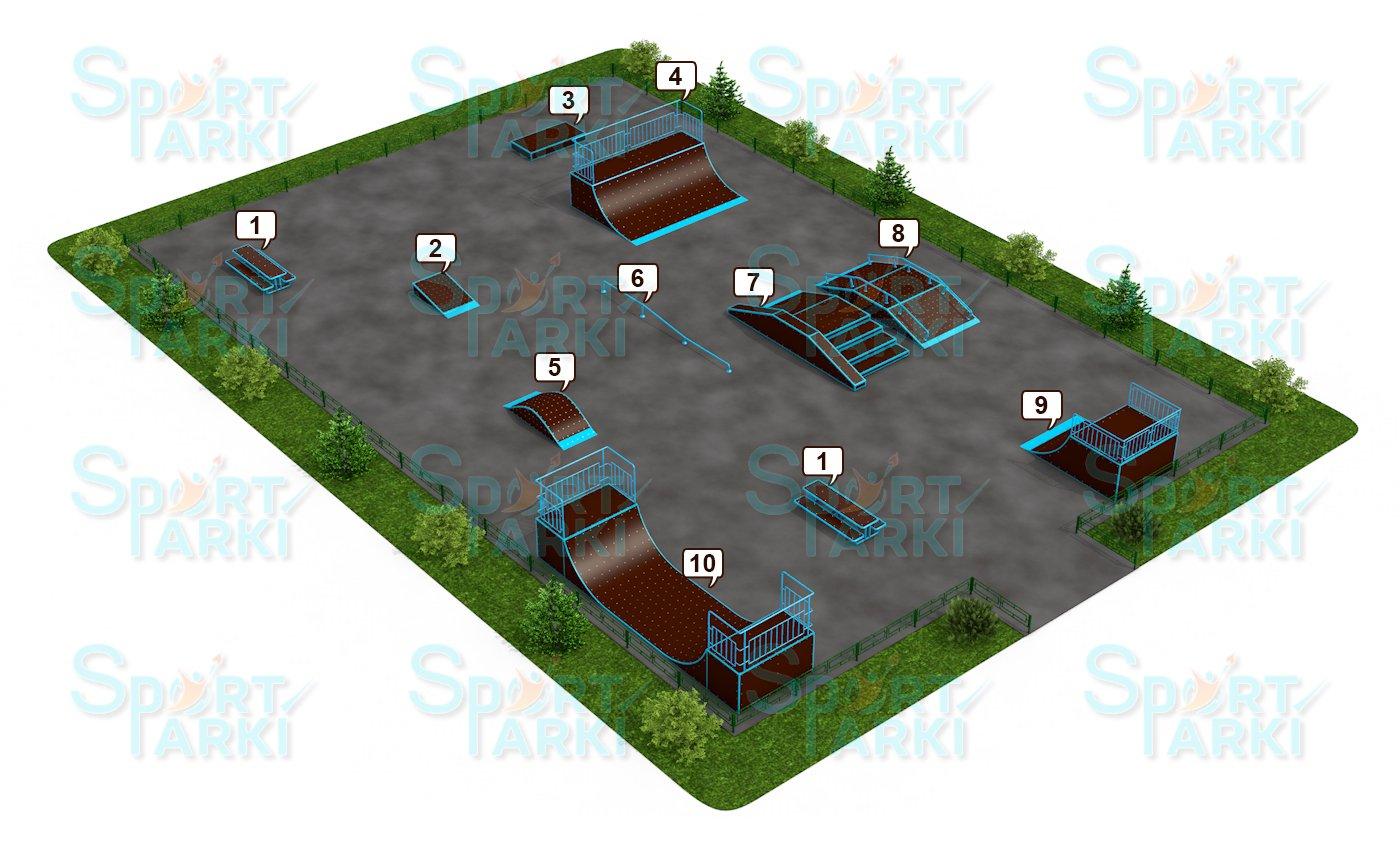 Площадки скейт-парков и роллердромов 12
